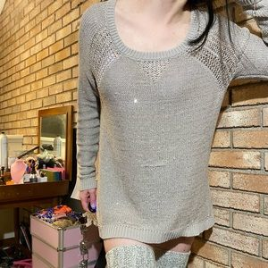 dkny jeans sparkle relaxed fit long sleeve sweater
